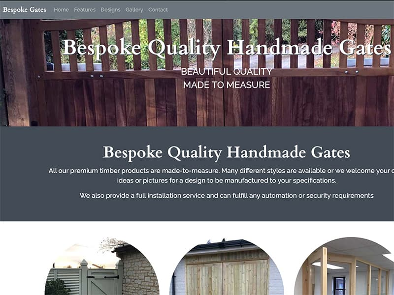 Single page website for small business hand-making gates and timber products