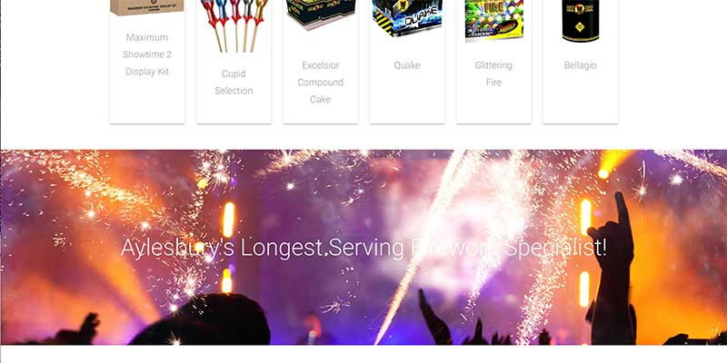 Aylesbury fireworks shop eCommerce website design
