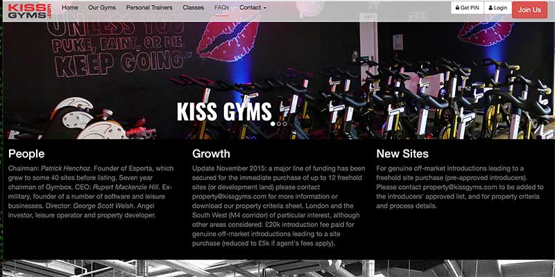 Website and complete control and administration system for Kiss Gyms