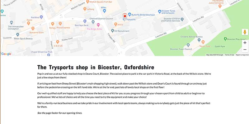 eCommerce website design for Trysports sports shop, Bicester