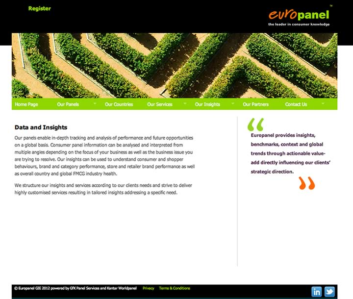 Global marketing informatio company website design