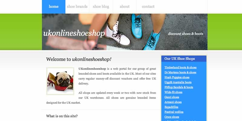Shoe website portal and blog