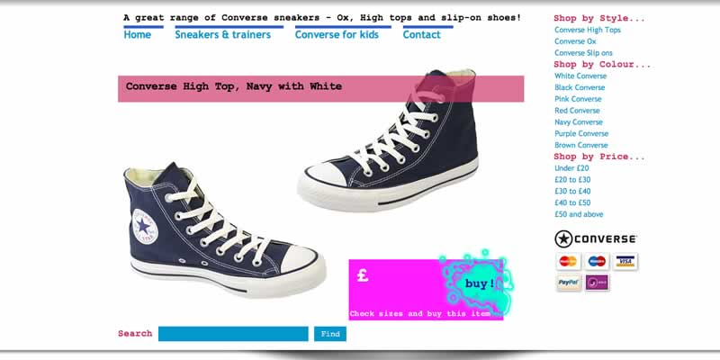 Website reskinned for Converse brand shoes