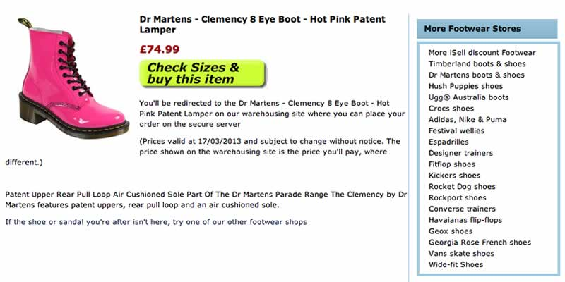 Dr Martens shoe ecommerce website store