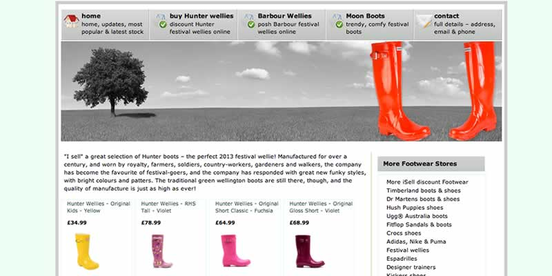 Hunter shoe ecommerce website store