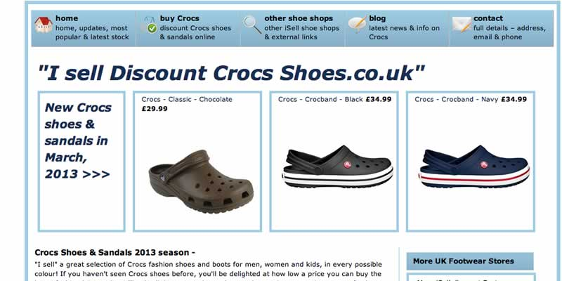 Crocs shoe ecommerce website store