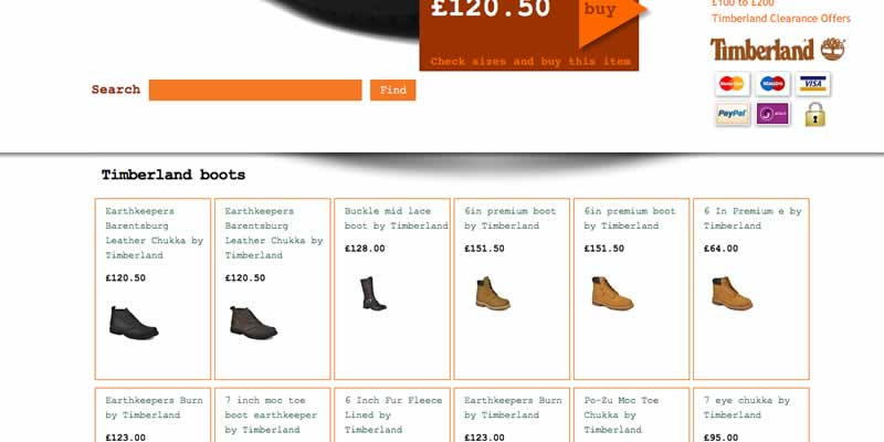 Listing page from shoe site